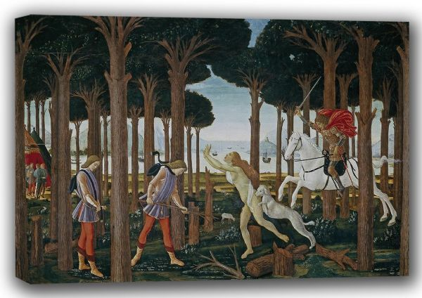 Botticelli: Nastagio's Vision of the Ghostly Pursuit in the Forest: Scene I of The Story of Nastagio degli Onesti. Art Canvas. A4/A3/A2/A1 (001887)